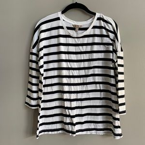 Banana Republic Black and White Striped Top